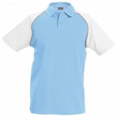 Tricou polo barbati, bumbac 100%, Kariban Baseball KA226, Sky Blue/White