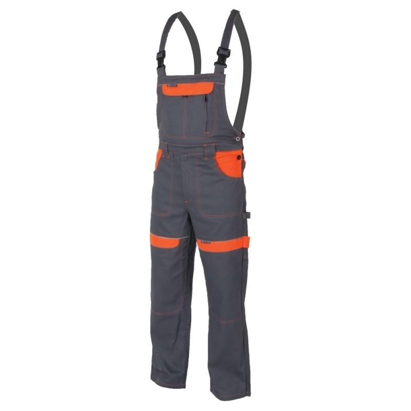 Pantaloni cu pieptar grey-orange H8408 :: Cool Trend