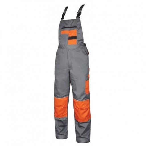 Pantaloni de lucru cu pieptar 2Strong Gri-Portocaliu :: Nakita